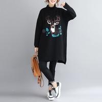 Plus Size Autumn Winter Thickening Long Sweatshirt Dress Ladies Female Elegant Loose Turltleneck Deer Print Sweatshirt
