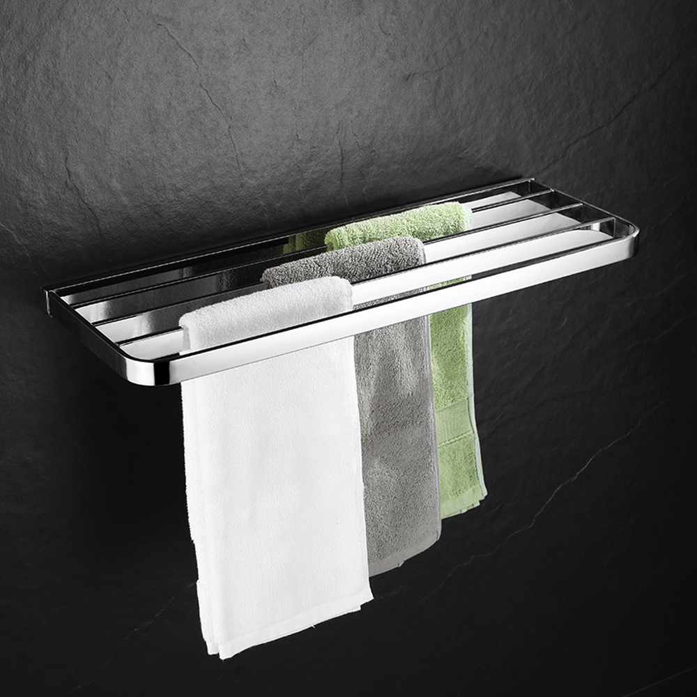 Single Layer Towel Rack Bath Towel Clothes Organizer Storage Shelf 304 Stainless Steel Polished Towel Holder Bathroom Hardware stainless steel bathroom towel holder wall mounted towel rack bath towel clothes organizer storage shelf with 4 hooks towel bar