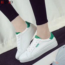 HQFZO 2019 High Quality Vulcanize Flats Sneakers Platform Women Shoes Breathable Casual Lace Up White Canvas shoes Mujer