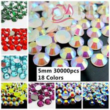 30000pcs ss20 5mm Beauty Glitter Resin Rhinestones Flatback Non Hotfix Beads Stick Drill #37-#54 Colors 3D Nail Art Decoarations(China)