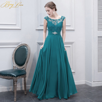BeryLove Vintage Green Teal Evening Dress 2019 Long Beaded Lace Formal Evening Gown Women Prom Dress Elegant Lace Gown