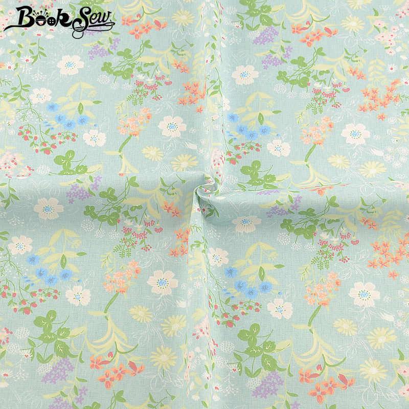Light Green 100% Cotton Twill Fabric Floral Design Scrapbooking DIY Sewing Material Baby Tecido Quilting Tela Algodon