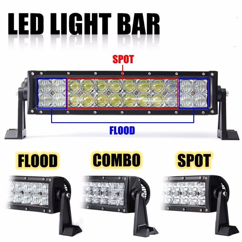 ФОТО 13 Inch 5D 72W 24 LED Double Row Work Light Bar Spot Driving Lamp Offroad Truck Tractor Boat 4WD ATV SUV Waterproof Car Styling