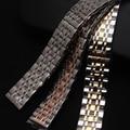 18mm 20mm 22mm 24mm correas de reloj de Plata caliente mezcló el Oro de Rose Correa de Metal de Acero Inoxidable de Las Pulseras de cuarzo Venda de reloj de entrega rápida