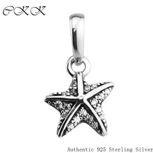 2017 Summer 100% 925 Sterling Silver Tropical Starfish, Clear Cz Charm Pendant Fine Jewelry Fit Bracelets & Necklace Diy PF578