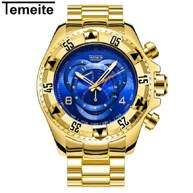 temeite mens big dial watches luxury gold blue 316l stainless steel man wristwatches quartz waterproof calendar