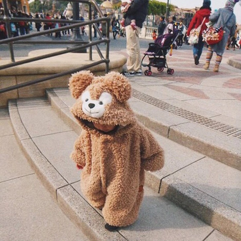 2017 New Cute Winter Warm Long Sleeve Infant Baby Romper Cartoon Jumpsuit Thicken Warm Boys Girls Bear Animal Overall Clothes doubchow adults womens mens teenages kids boys girls cartoon animal hats cute brown bear plush winter warm cap with paws gloves page 7