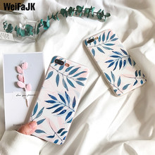 Fashion Artistic Leaf Silicon Phone Case For iPhone 7 8 Plus Cases Floral Leaves Soft TPU Cover For iPhone 6 6s Plus X XS Max XR(China)