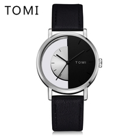 Tomi Brand Men Watches Luxury Half Dial Skeleton Leather Strap Business Male Wristwatch Fashion Simple Creative