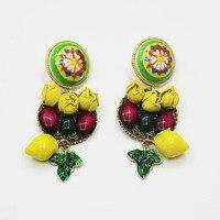 Fashionable Women Yellow Drop Earrings Catwalk Section Baroque Earring Small Budslemon Flower Earrings
