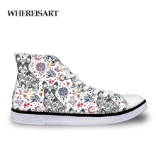 WHEREISART Cute Animal Bulldog Brand Women Sneakers Shoes Woman High Top Fashion Ladies Flats Vulcanized Canvas Casual Shoes instntarts universe star women casual flats shoes cool animal purple wolf print woman s high top vulcanize canvas shoes sneakers