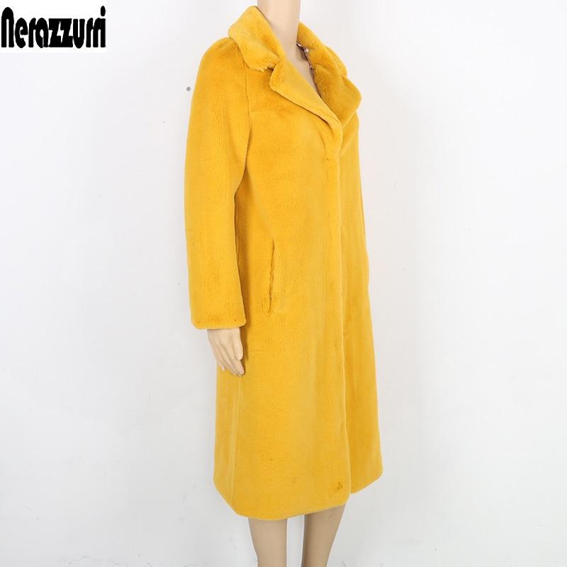 Nerazzurri Winter Faux Fur Coat Women Yellow Gray Black Furry Outerwear Long Artificial Fur Coats Large Size Outwear 5xl 6xl 7xl