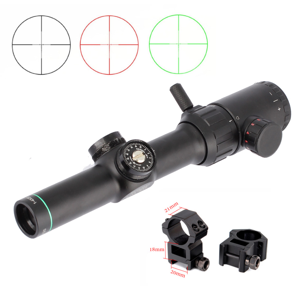 Hunting Air Rifle Scope Green Red Illuminated 1-4x20 Range Finder Reticle Rifle Scope Sight With 11mm Or 20mm Rail Mount