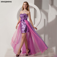 Sparkly Sexy High Low Cocktail Dress Violet Sequin Tulle Formal Dress Bow Chic Prom Gown Elegant robe soiree Evening Gown