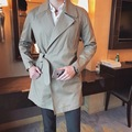 2017 Spring Korean Fashion Brand Cool Unique Designer Slim Fit Trench Coat Men Belted Jacket Windbreaker Mens Long Coat Khaki