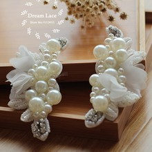 Patches 2 Pcs Pearl Beaded Applique Chiffon Leaves Corsage Collar Patch For Wedding Dress Shoulder Flowers Applique Patches(China)