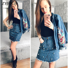 ZYFPGS 2019 Summer Casual Irregular Pearls Jean Skirt Women Fringed Hem Skinny Pencil  Pocket Denim Rivet Mini L0512