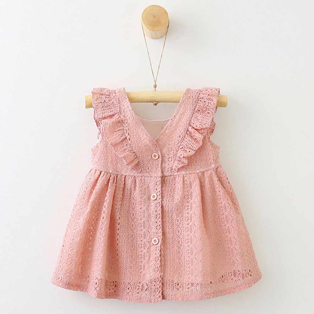 Kids Toddler Baby Girl Princess Dress Children Infant Kid Girls Lace Ruffles Princess Button Hollow Dress Clothes