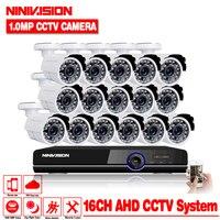 NINNVISION 16CH AHD DVR Hybrid 16*720 P AHD CCTV Наборы камер безопасности Супер Ночное видение Дома Видеонаблюдения Системы NO HDD