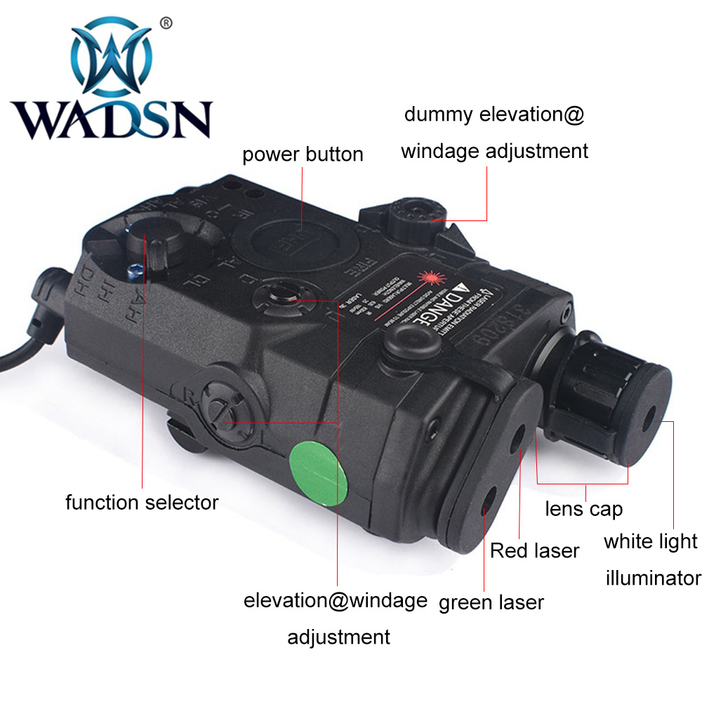 Image 2 - WADSN Airsoft PEQ15 LA 5C AN/PEQ UHP Green and Red Double Laser Flashlight for Hunting Softair LA5 Zero stop WEX450 Weapon Light-in Weapon Lights from Sports & Entertainment