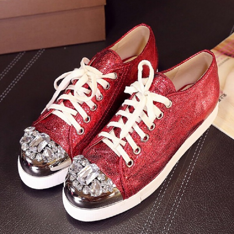 ФОТО New Fashion Burst Red Silver Blue Flat platform Shoes Lace-Up Rhinestone Female Leisure Shoes Spring Autumn Comfortable Loafers