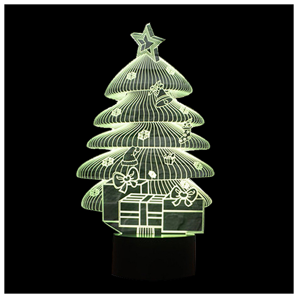 3D Illusion Night Lights 7 Colors Switch Automatically by Smart Touch Button Indoor Lamp, Christmas Tree Black+Transparent