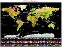 Son scratch harita Deluxe Seyahat Sürümü Kazınacak Dünya Haritası Poster Kişiselleştirilmiş siyah Harita 59.5x82.5 cm