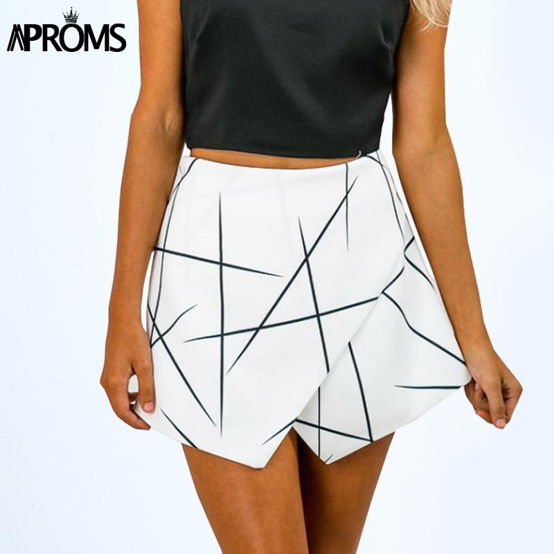 אפרומס חדש 2018 קיץ סגנון מכנסיים נשים חדים שורות שכבות רוכסן Skort לא סדיר OL לבן Culottes מכנסיים קצרים חצאיות 70081