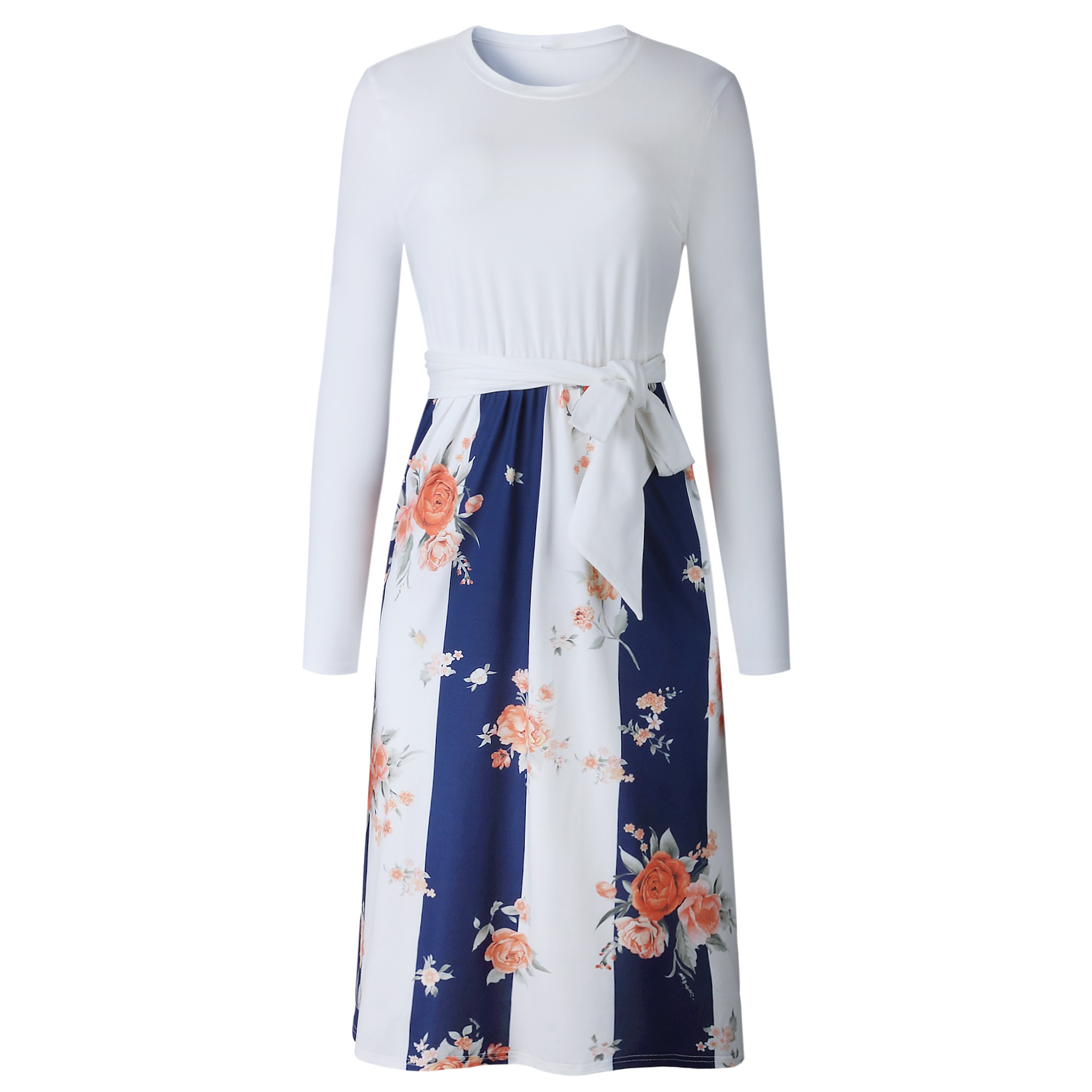 Stitching Printed Women Dress Tight Waist Long Sleeve Long Ladies Dresses 2018 Fashion Autumn Female Vestidos