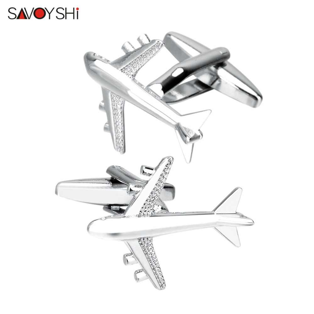 f3d09cbf1c23 SAVOYSHI Silver Aircraft Shape Cufflinks For Mens French Shirt High Quality  Brand Novelty Plane Cuff Buttons