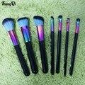 Nueva Caliente 7 unids Colorido Pinceles de Maquillaje Profesional Set Powder Blush Cosméticos Contorno de Sombra de Ojos Blending Brush Kits de Herramientas de Belleza