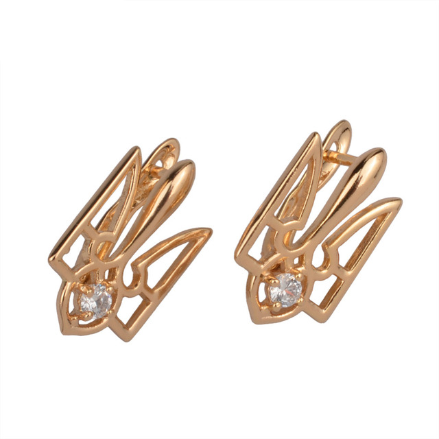 Ukraine Earrings With Cubic Zirconia Jewelry Ukrainian Ethnic Gifts for  Women Light Gold Color and Silver Color #J0365-in Stud Earrings from  Jewelry &