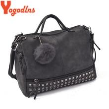 Yogodlns Vintage Nubuck cuir dames sac à main Rivet grands sacs boule de cheveux femmes sac à bandoulière moto messager haut poignée sac