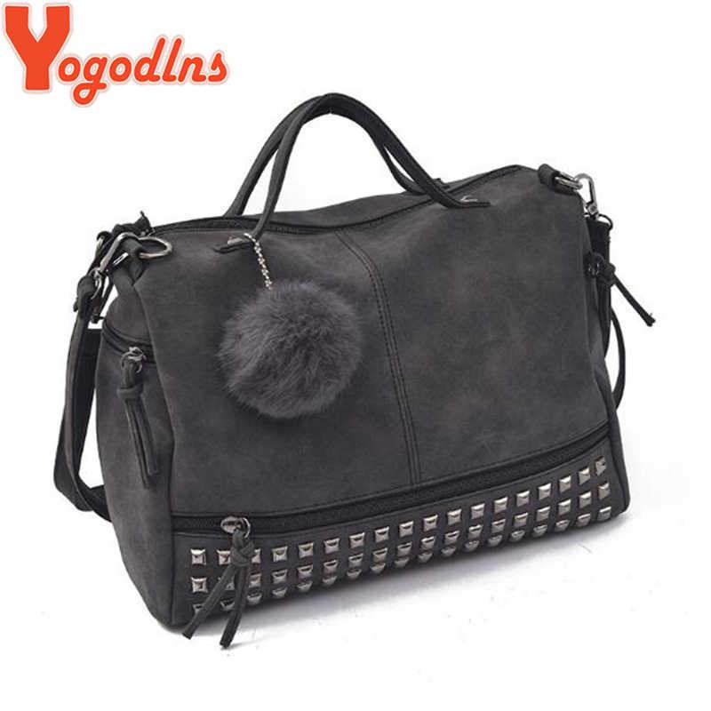 Yogodlns skóra nubuk vintage panie torebka nit duże torby włosy piłka kobiety torba motocykl na ramię Top uchwyt torba