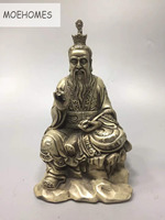 MOEHOMES China Tibet Silver Ancient Taoist master Statue Lord Lao Zi metal crafts home decoration