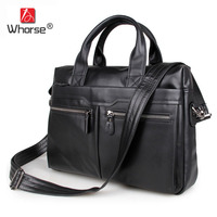 Brand Vintage Genuine Leather Mens Business Briefcase 15 Laptop Bag Cowhide Men Satchel Crossbody Messenger Bags