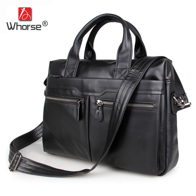 Brand Vintage Genuine Leather Mens Business Briefcase 15