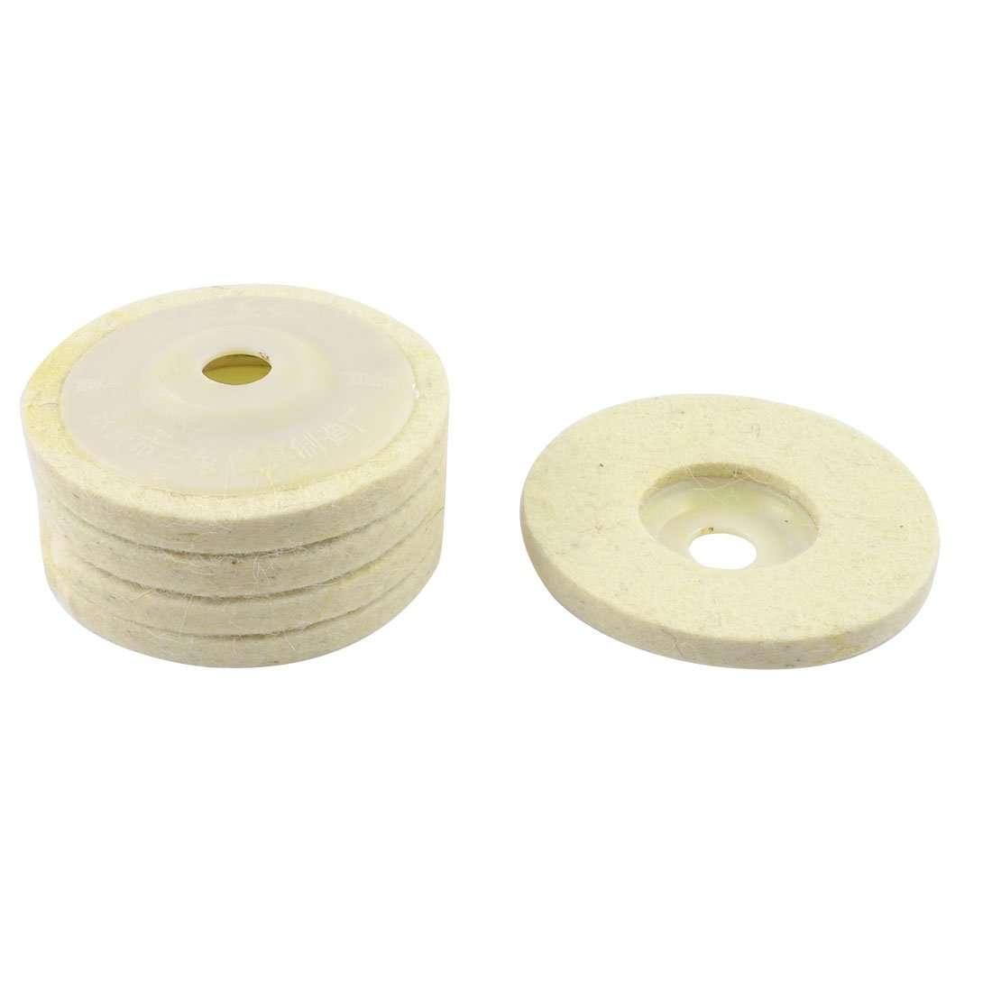 AYHF-5 Pcs Off White Wool Felt Polishing Disc Wheel Pad 100mm x 10mm x 16mm