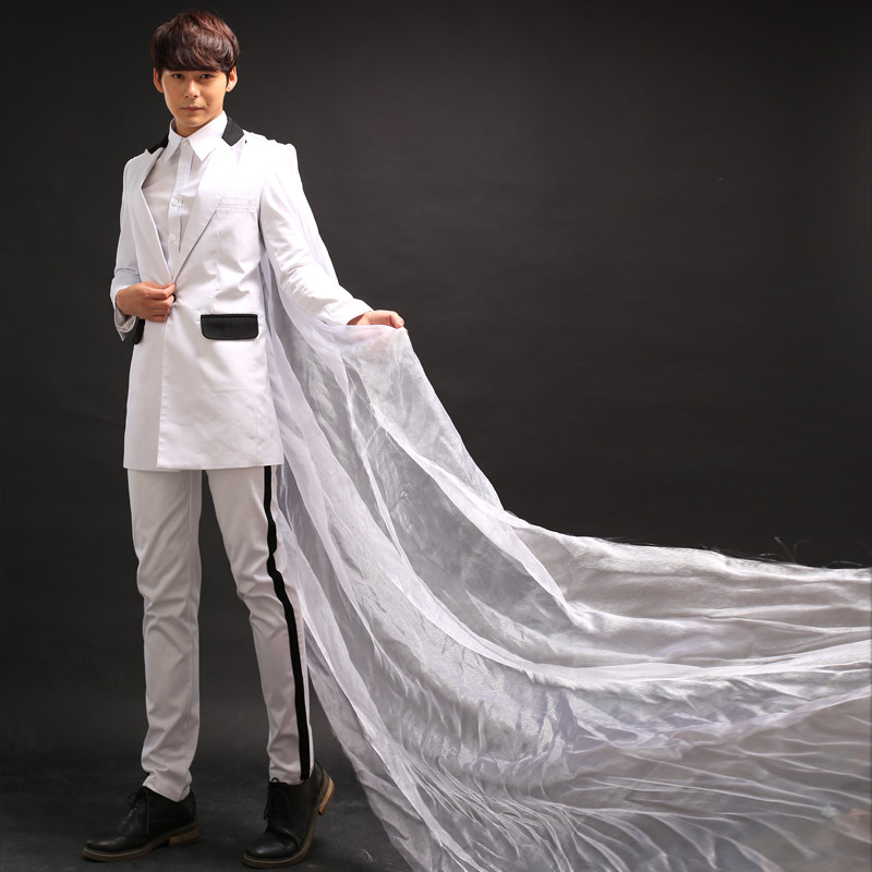 2016 New Fashion Nightclub Male Singer DJ GD white yarn mantissas Medium long Suit Stage show performance ds costume