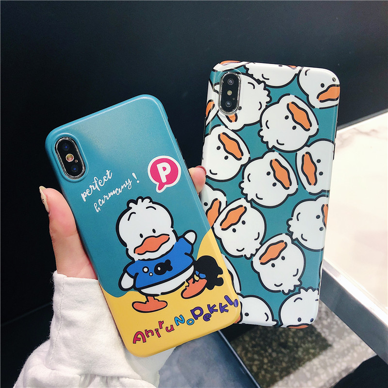 Cute Duck Patterned Phone Case for Iphone Xs Max Xr X Case for Iphone 6 6s 7 8 Plus Back Cover Soft TPU Cases Anti-knockCapa