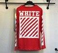16SS off white diagonais escovado T-shirt de manga Comprida off-white L/S para trás seta branca Tee