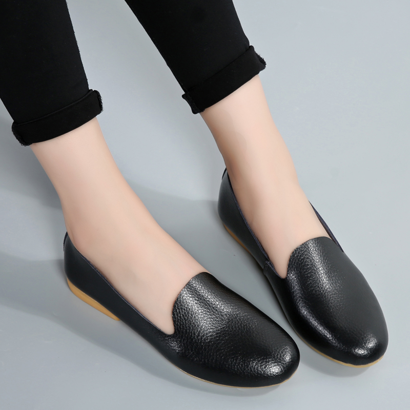 2018 Women Flat White Shoes Woman Hand-sewn Leather Loafers Spring Casual ladies Shoes Flats Women Black White Shoes women shoes flat genuine leather hand made ladies flat shoes black brown coffee casual lace up flats woman moccasins 568 5