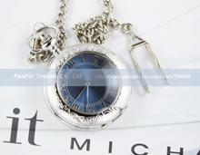 Cubierta lupa azul números romanos esqueleto mecánico para hombre del reloj de bolsillo