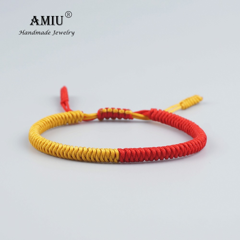 AMIU Tibetan Jewelry Buddhist Lucky Charm Tibetan Bracelets & Bangles For Women Men Handmade Knots Rope Bracelet Christmas Gift