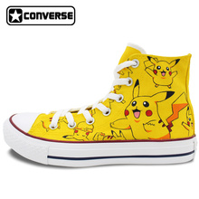 Pokemon Go Pikachu Converse All Star Boys Girls Hand Painted Canvas Shoes Women Men High Top Sneakers Women Men Creative Gifts