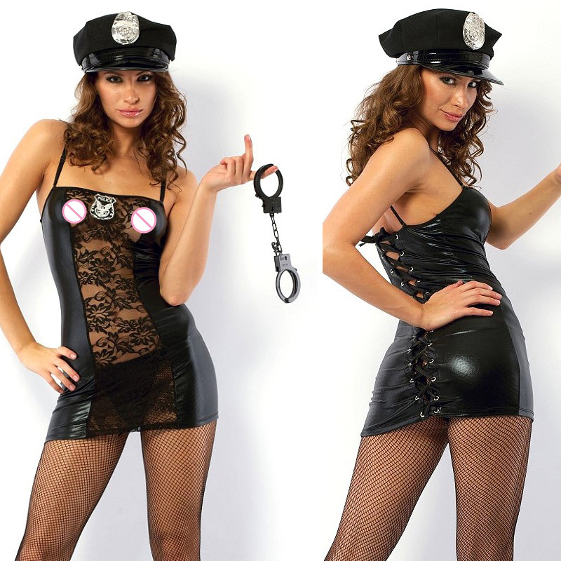 <font><b>Sexy</b></font> Police Costume Adult <font><b>Sexy</b></font> Lace Hollow Out Leather Policewomen Cosplay Dress With Handcuffs Ladies <font><b>Cop</b></font> Outfit <font><b>Sexy</b></font> Uniform image