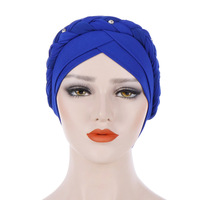 WOMEN Cotton Headwear Headwrap African Point Drill Milk Silk Head Wrap Twist Hair Band Accessoires 0120