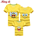 Ming Di Summer Kids Clothes More Color Family Matching Outfits Cartoon Spongebob T shirt Father Mother Daughter Son T shirts
