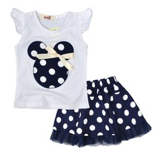 1-4Y Summer Baby Kid Girls Princess Clothes Cartoon Party Mini Dress ball gown dress lace+cotton material Shirt + skirt