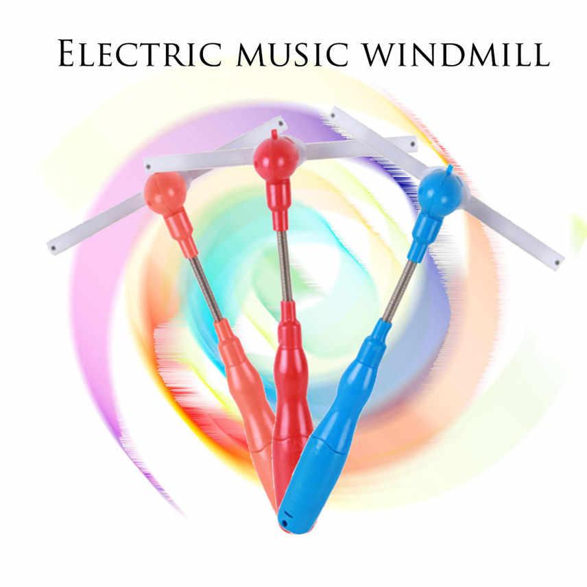 1 Rosa LED intermitente Spinning Molino Luz Juguete Música resplandor Varita molinos de viento